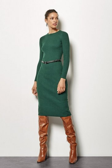 Green Skinny Rib Midi Dress With Belt
