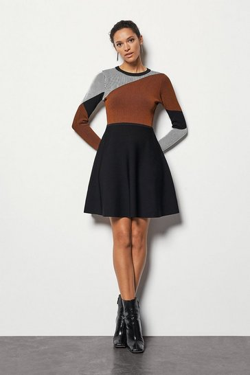 Womens Red Colour Block Skater Knit Dress