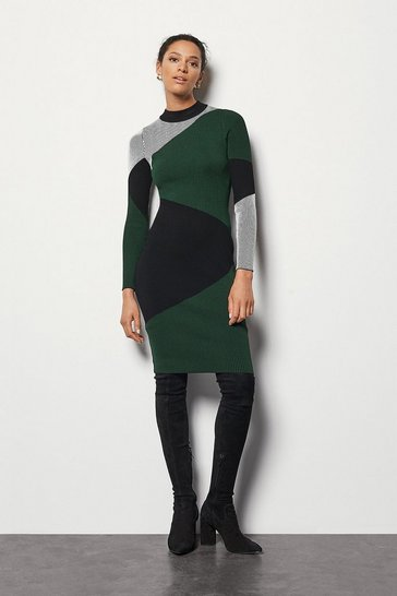 Womens Green Colour Block Skinny Dress