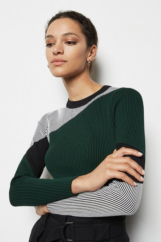Green Colourblock Skinny Rib Top