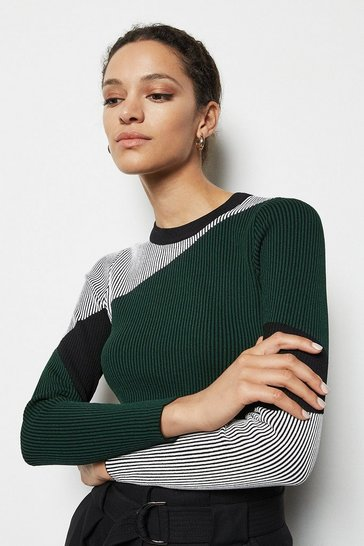 Womens Green Colourblock Skinny Rib Top