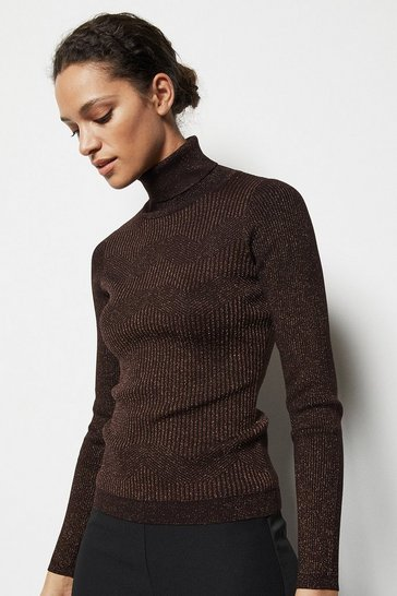 Womens Bronze Skinny Roll Neck