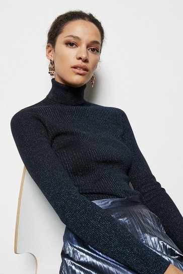 Womens Navy Skinny Roll Neck