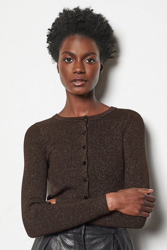 Bronze Rib Knit Cardigan