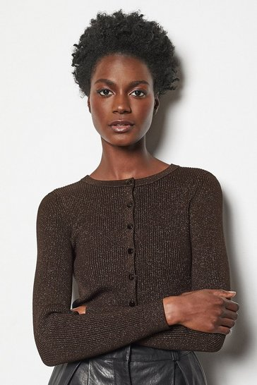Womens Bronze Rib Knit Cardigan