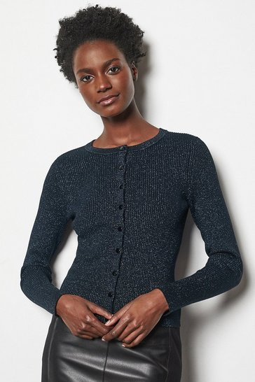 Womens Navy Rib Knit Cardigan