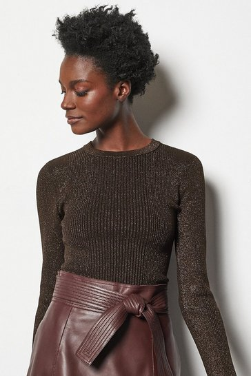 Womens Bronze Rib Knit Jumper