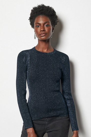 Womens Navy Rib Knit Jumper
