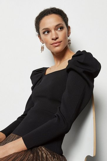 Womens Black Drama Sleeve Jumper