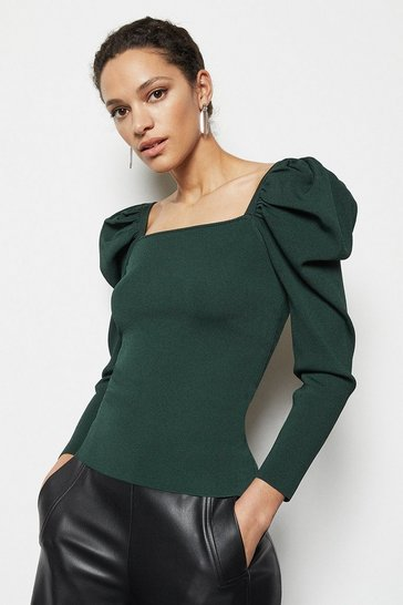 Womens Green Drama Sleeve Jumper