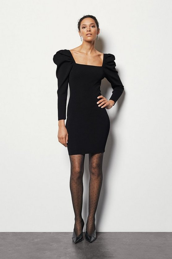 Black Volume Sleeve Dress