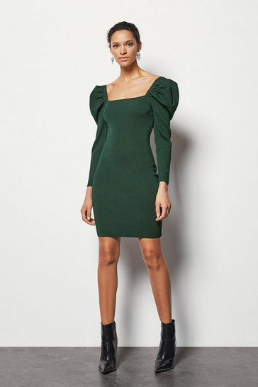 Green Volume Sleeve Dress