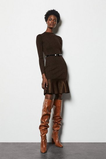 Womens Bronze Flippy Knit Dress
