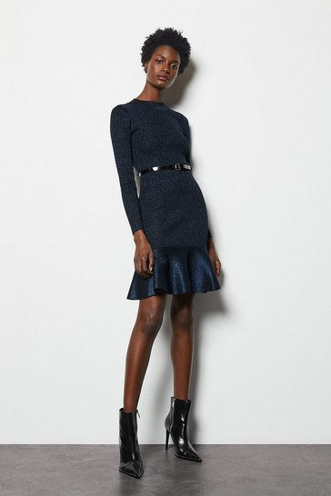 Womens Navy Flippy Knit Dress