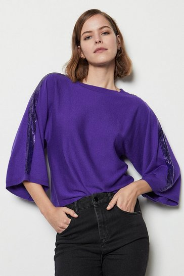 Womens Purple Sequin Knit Kimono Jumper