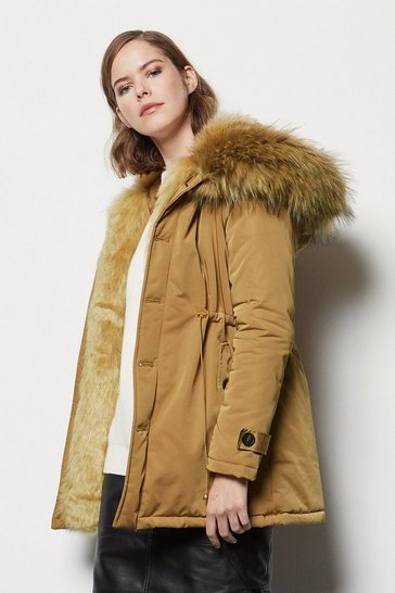 Camel Faux-Fur Lined Hooded Parka