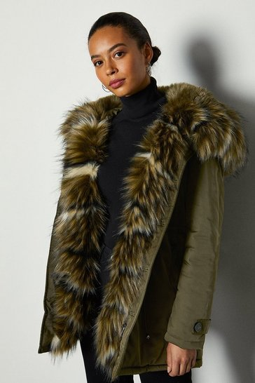 Khaki Faux Fur Lined Oversize Hooded Parker