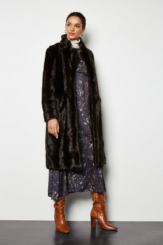 Brown Faux Fur Midi Length Coat
