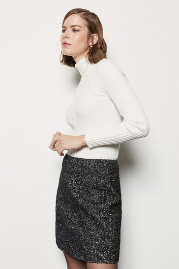 Womens Blackwhite Tweed & Faux Leather Mini Skirt