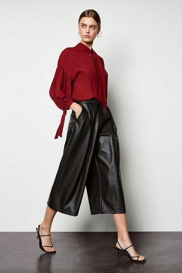 Womens Black Faux Leather Culottes