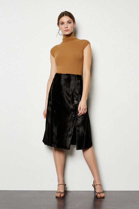 Black Pony Wrap Skirt