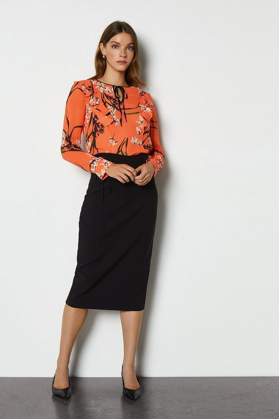 Black Essential Tailored Skirt