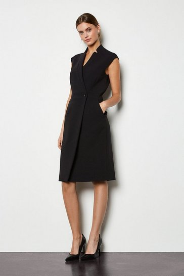 Black Collar Wrap Dress