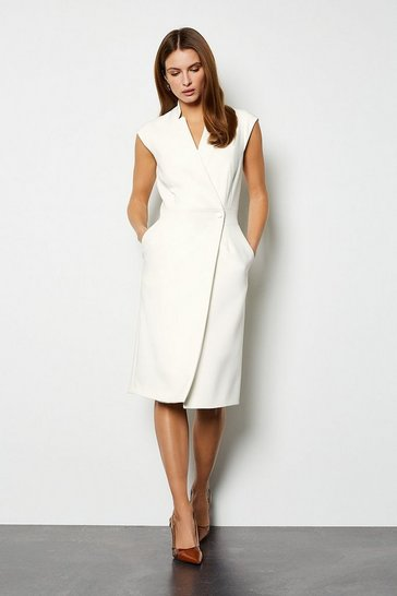 Ivory Collar Wrap Dress