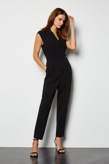 Womens Black Collar Wrap Jumpsuit