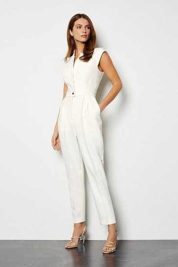 Womens Ivory Collar Wrap Jumpsuit