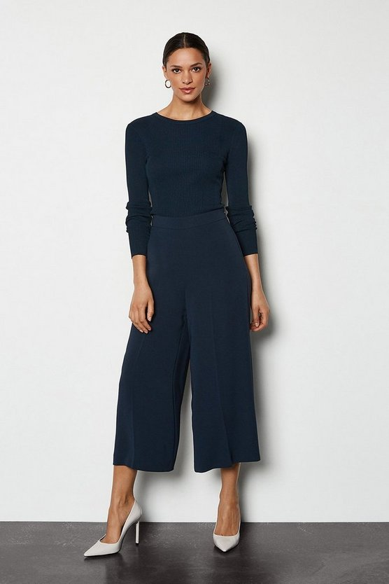 Navy Soft Tailored Cropped Trousers