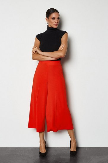 Red Soft Tailored Cropped Elastic Waist Trousers