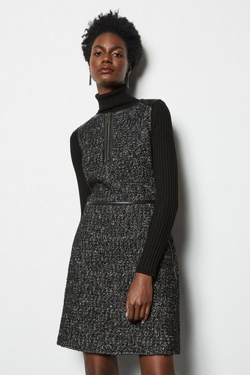 Womens Blackwhite Tweed & PU Day Dress