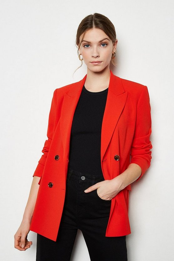 Red Soft Tailored Double Breasted Jacket