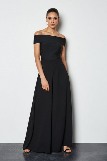 Black Soft Tailored Super Wide Leg Trousers