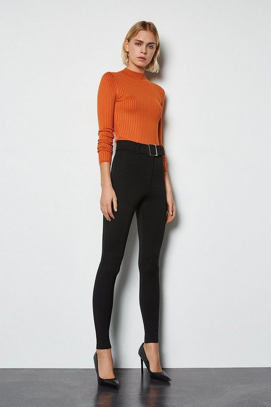 Black Ponte Belted Skinny Trousers