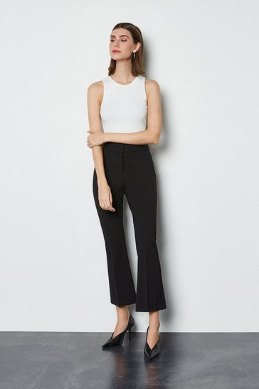 Black Ponte Kick Flare Capri Trousers