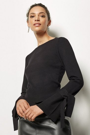 Womens Black Fine Gauge Knotted Jumper