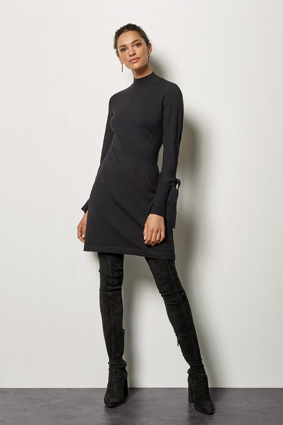 Womens Black Fluted Cuff Knit Dress