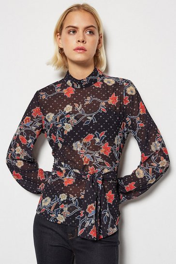 Womens Multi Black Flower Tie Waist Blouse