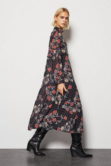 Womens Multi Black Flower Maxi Dress