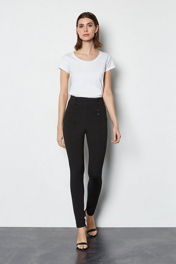 Black Ponte Snap Front Trouser