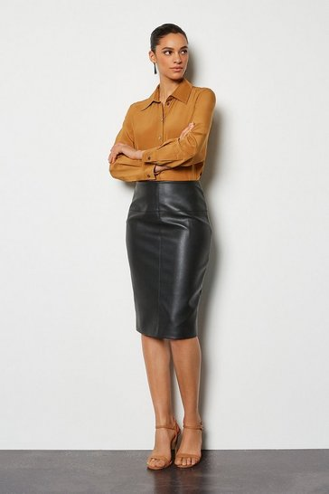 Womens Black Faux Leather Pencil Skirt