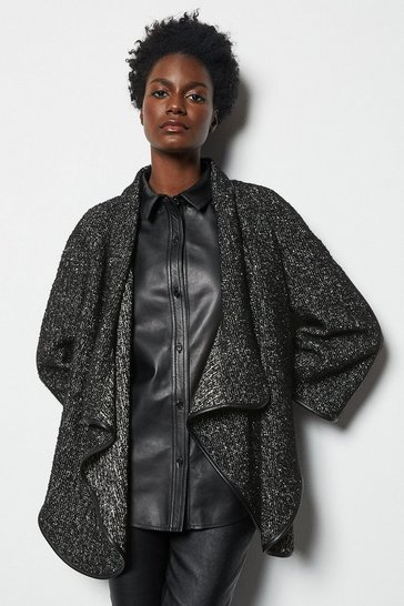 Womens Black Tweed & Faux Leather Cape