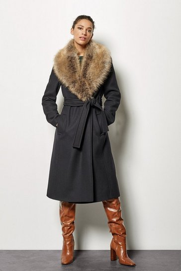 Womens Black Forever Wrap Coat With Fur Collar