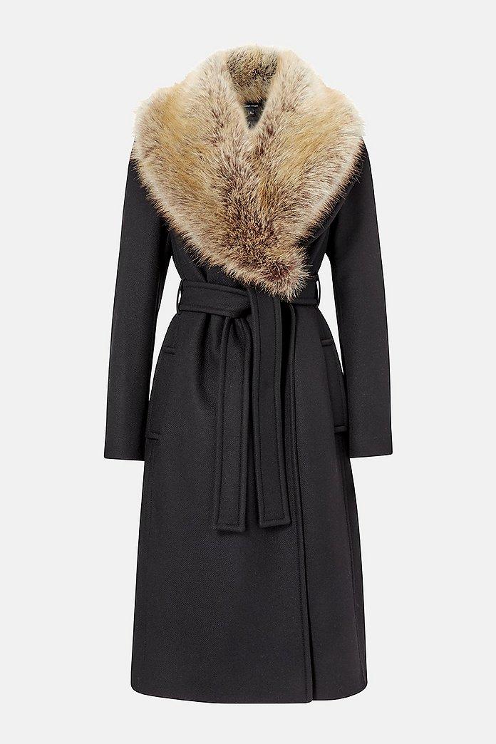 Forever Wrap Coat With Fur Collar   Karen Millen