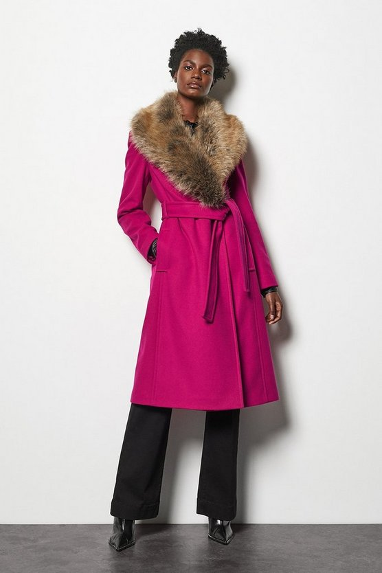 Pink Forever Wrap Coat With Fur Collar
