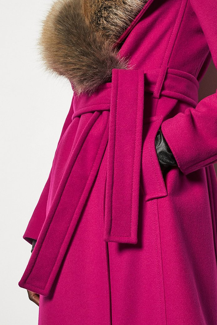 casual shoes official shop preview of Forever Wrap Coat With Fur Collar | Karen Millen