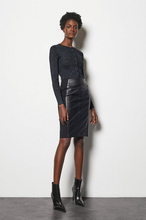 Black Faux Leather & Ponte Panelled Skirt