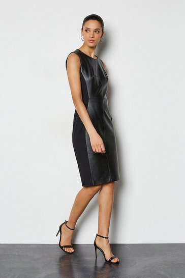 Womens Black PU & Ponte Panelled Dress